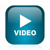 video blue glossy internet icon