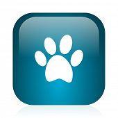 foot blue glossy internet icon