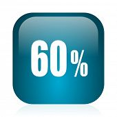 60 percent blue glossy internet icon