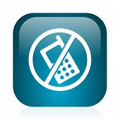 no phone blue glossy internet icon
