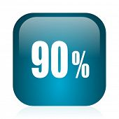 90 percent blue glossy internet icon