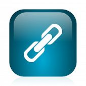 link blue glossy internet icon