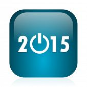 new year 2015 blue glossy internet icon