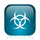 biohazard blue glossy internet icon