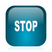 stop blue glossy internet icon