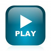 play blue glossy internet icon
