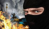 stock photo of terrorist  - Terrorist on Ukrainian Maidan - JPG