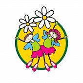 Vector Children On Flowers