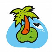 Vector island with palm tree on a white background
