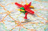 Eindhoven,holland Map Airplane