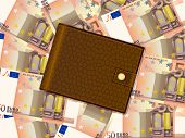 Wallet On Fifty Euro Background