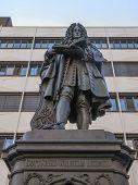 pic of leipzig  - The Leibniz Denkmal monument to German philosopher Gottfried Wilhelm Leibniz stands in the campus of Leipzig University - JPG