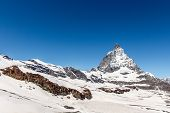 Matterhorn With Blue Sky Background, Zermatt, Switzerland