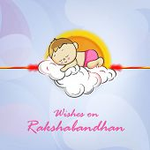 Cute little boy sleeping on clouds decorated rakhi with wishes for Happy Raksha Bandhan celebrations