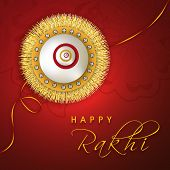 Happy Raksha Bandhan celebrations greeting card design with golden and silver rakhi on floral decora