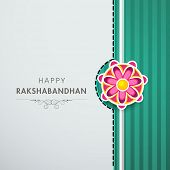 Beautiful greeting card design with Rakhi for Happy Raksha Bandhan celebrations.