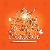 Stylish greeting card design with text in shape of a gift box on orange background for Happy Raksha