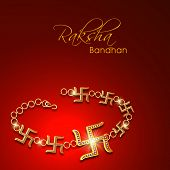 Beautiful rakhi made by golden Swastik on red background, Raksha Bandhan greeting card design.