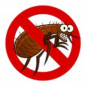 stock photo of flea  - Anti parasite sign with a funny cartoon flea - JPG