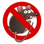 picture of anti  - Anti pest sign with a funny cartoon mouse - JPG