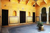 JODHPUR, INDIA - MARCH 08: Interior mughal architectural details of Nahargarh Fort, March 08, 2012,