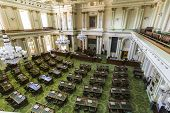 Sacramento, California, USA - July 4, 2014:  Interior of the California State Legislature meeting ro