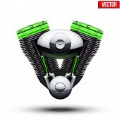 Bio green motorcycle engine. Vector Illustration.