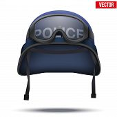Blue Police helmets and mask. Vector Illustration.