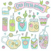 Set of cute hand drawn cocktails and lemonades