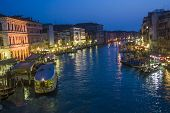 View To Canale Grande By Night In Venice, Italy