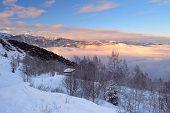 Winter Landscape At Sunset