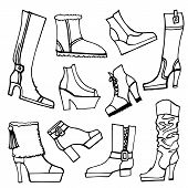 Outline Sketchy vector.Females shoes,boots set