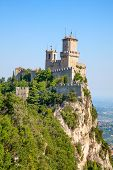 Sunrise over ancient fortifications of the San Marino