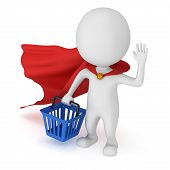 Brave Superhero Shopper With Red Cloak