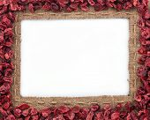 Frame Made Of Burlap With Dried Cranberries