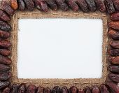 Frame Made Of Burlap With Dried Dates