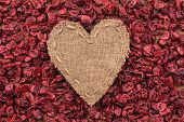 Heart Of  Burlap, Lies On A Background Of Dried Cranberry