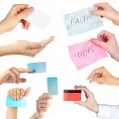 Collage of hands, hands holding empty business cards, credit card and cards with text isolated white