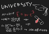 Blackboard With Physics Formulas, Hat Graduate And Undergraduate
