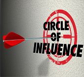 stock photo of clientele  - Circle of Influence words on a target with arrow hitting it to illustrate communicating a message to your contacts - JPG