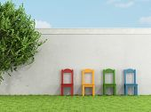 Colorful Chair On Grass