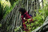 Ecoturismo: Mujer Senderismo en el bosque
