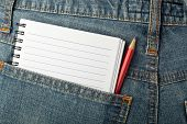 Notepad And Pencil In Jeans Pocket