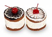 Two Chocolate Cakes With Cherry