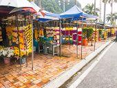 Traders Selling Flower Wreath  Garlands