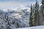 Alpine Resort Winter Landscape