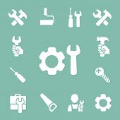 working tools isolated icons set of hammer wrench screwdriver and measuring tape