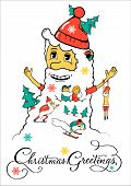 Christmas Santa greeting design for Christmas holiday.