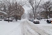 Residential Street In Toronto Covered In Snow