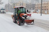 Tractor Helping Shift Snow In Toronto